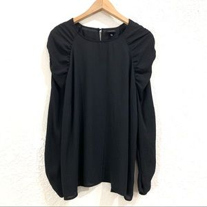 Who What Wear Black Shirred Sleeve Chiffon Blouse